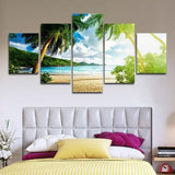 Palm Tree Beach 5 Piece Wall Canvas Art