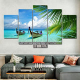 Tropical Boat 5 Piece Wall Canvas Art