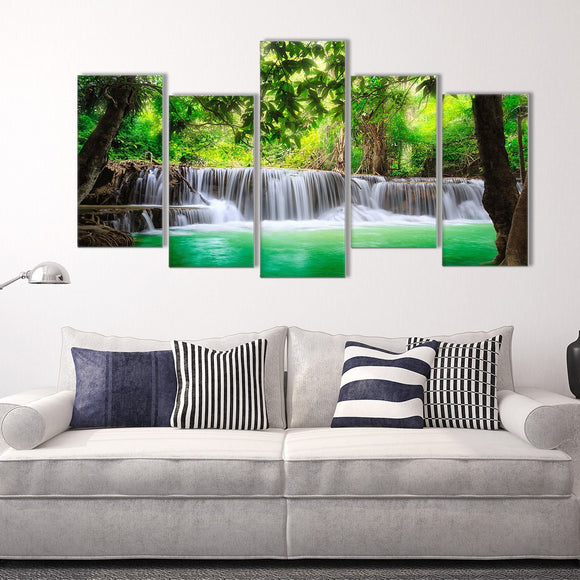 Go Chase Waterfalls 5 Piece Staggered Canvas Wall Art