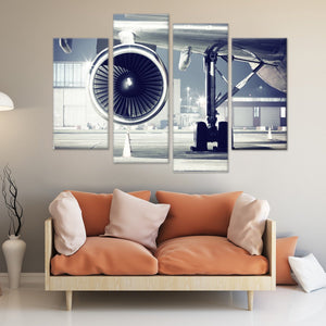 Pilot's Aircraft Turbine 4 Piece Staggered Canvas Wall Art
