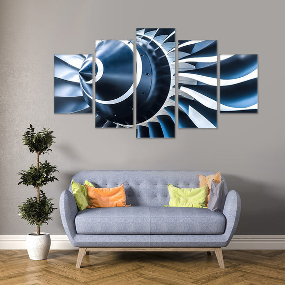 Aviation Turbine 5 Piece Canvas Wall Art