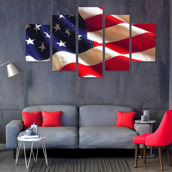 American Flag Love 5 Piece Canvas Wall Art