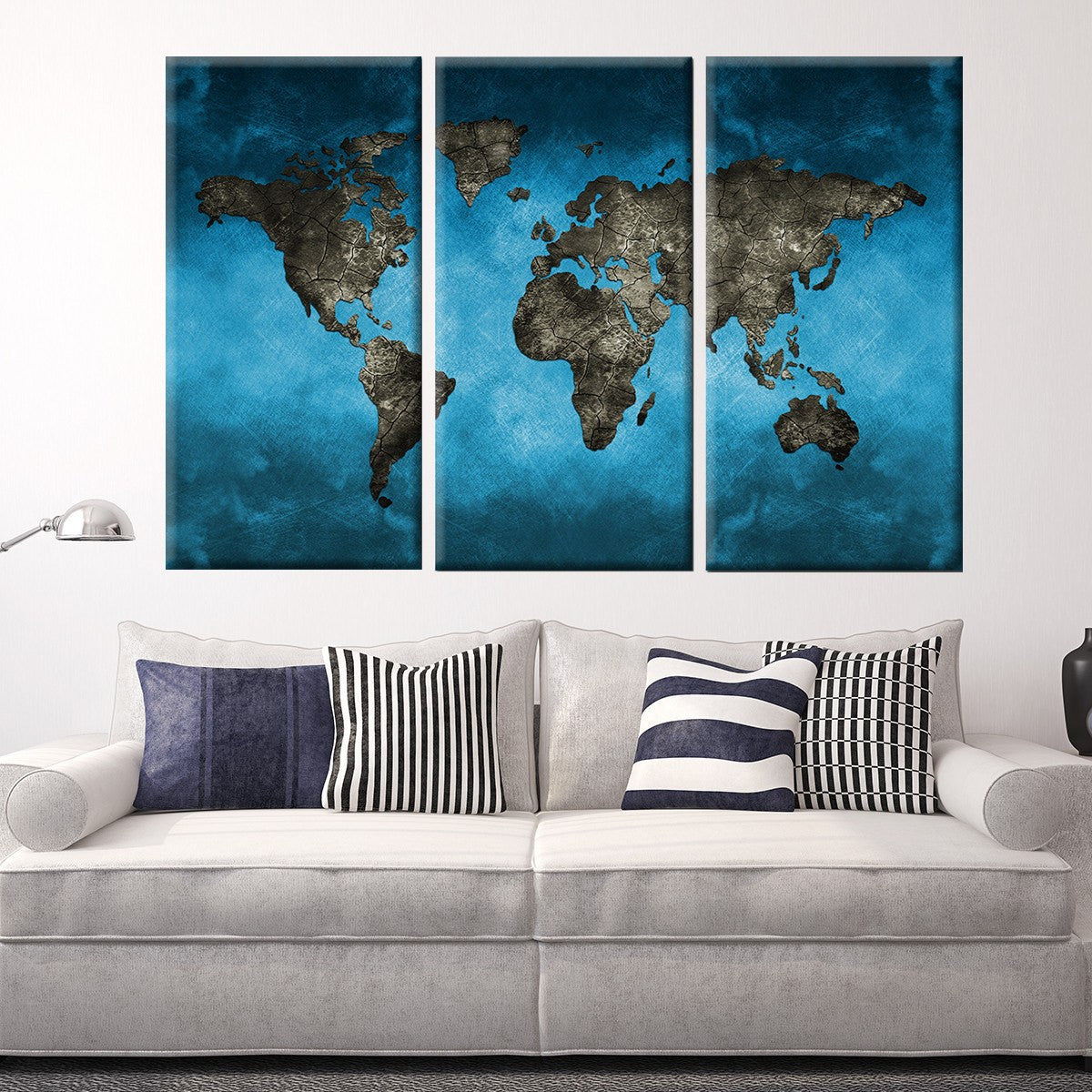 Blue Gray World Map 3 Piece Canvas Wall Art