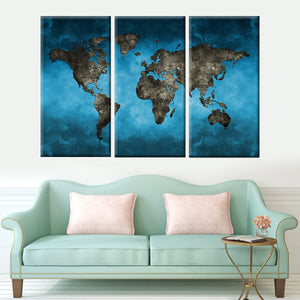Blue-Gray World Map 3 Piece Canvas Wall Art