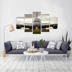 Airbus A380 Jet Airliner Aircraft Front View 5 Piece Canvas Wall Art