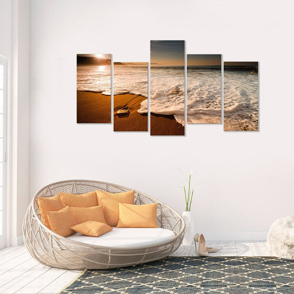 Foamy Beach 5 Piece Canvas Wall Art