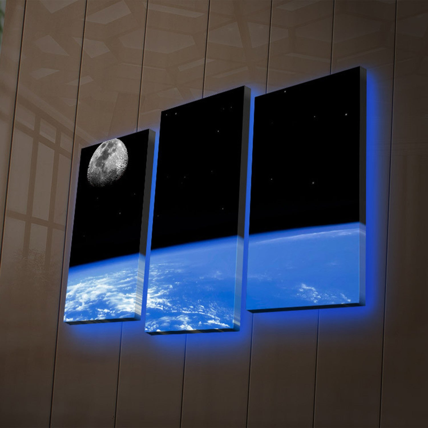 Earth + Moon In Space LED Light Up Canvas Wall Art