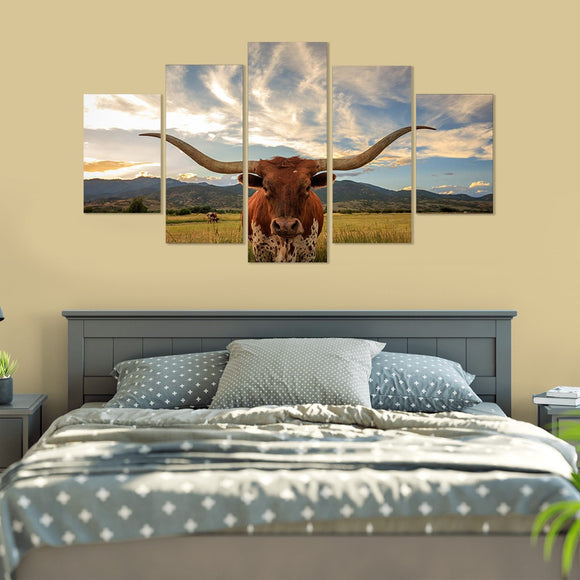 I Love Texas Longhorn Cattle 5 Piece Canvas Wall Art