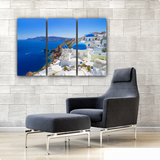 Santorini, Greece Daytime Skyline 3 Piece Canvas Wall Art