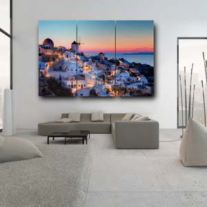 Santorini, Greece Sunset @ Night 3 Piece Canvas Wall Art