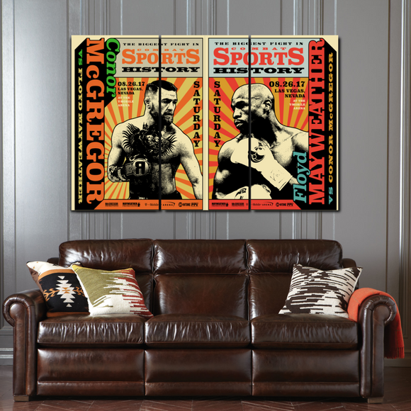 the money fight 3 piece canvas wall art