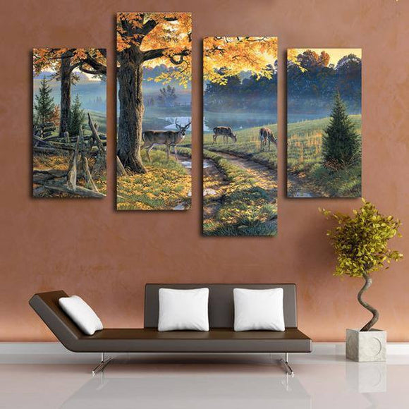 Nature Does 4 Piece Staggered Canvas Wall Art