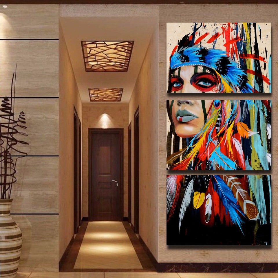 American Indian 3 Piece Canvas Wall Art