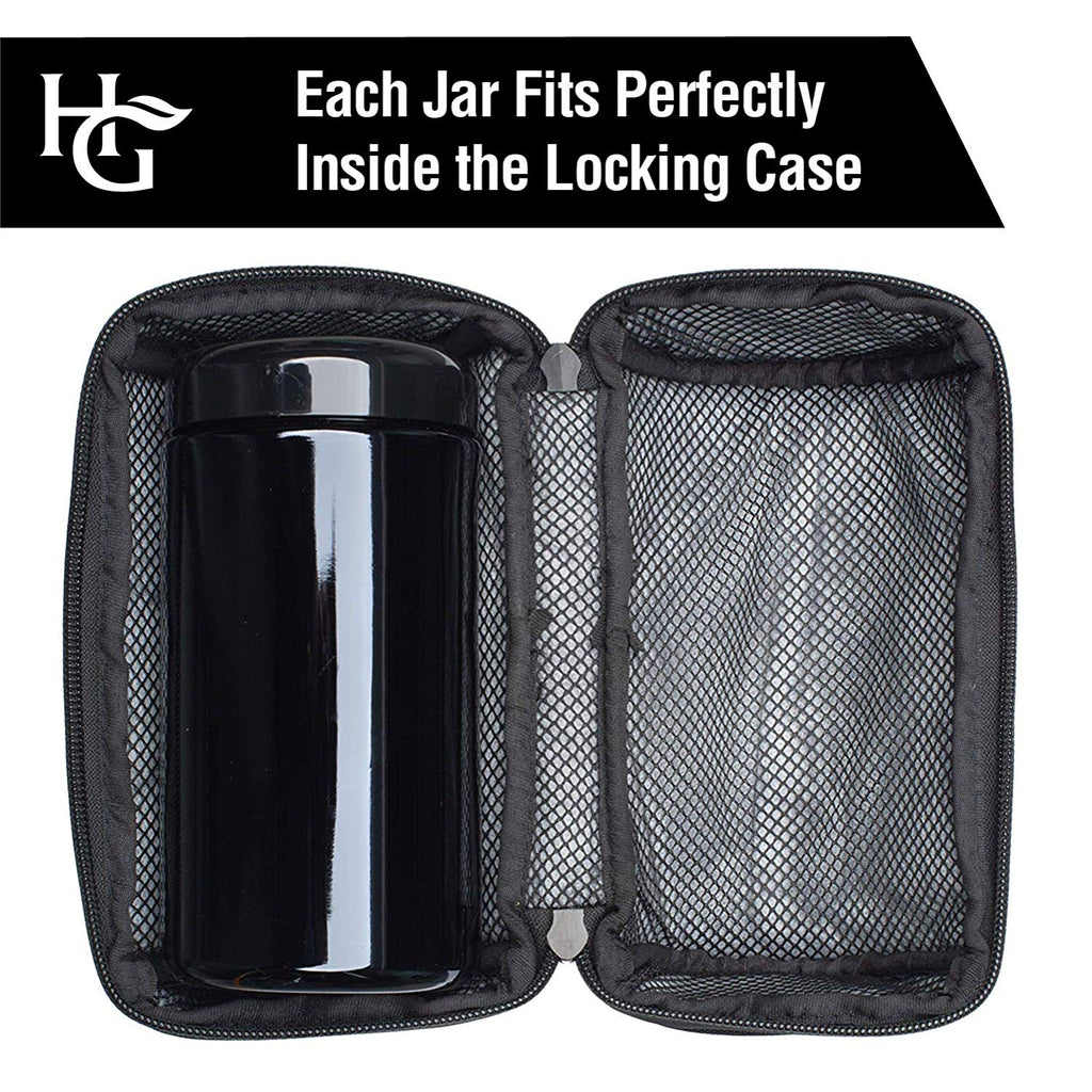 Herb Guard - 1 Oz Stash Jar (500 ml) with Locking Protective Case 100% Smell Proof