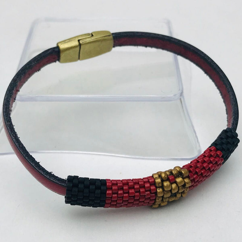 *Leather and Peyote Bead Bracelet with Sandy 1/28/2020