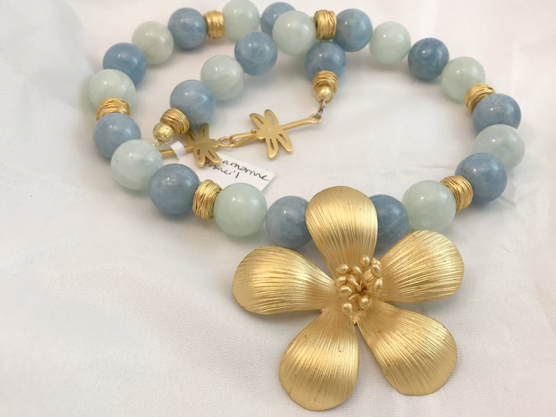 Aquamarine & Vermeil Necklace