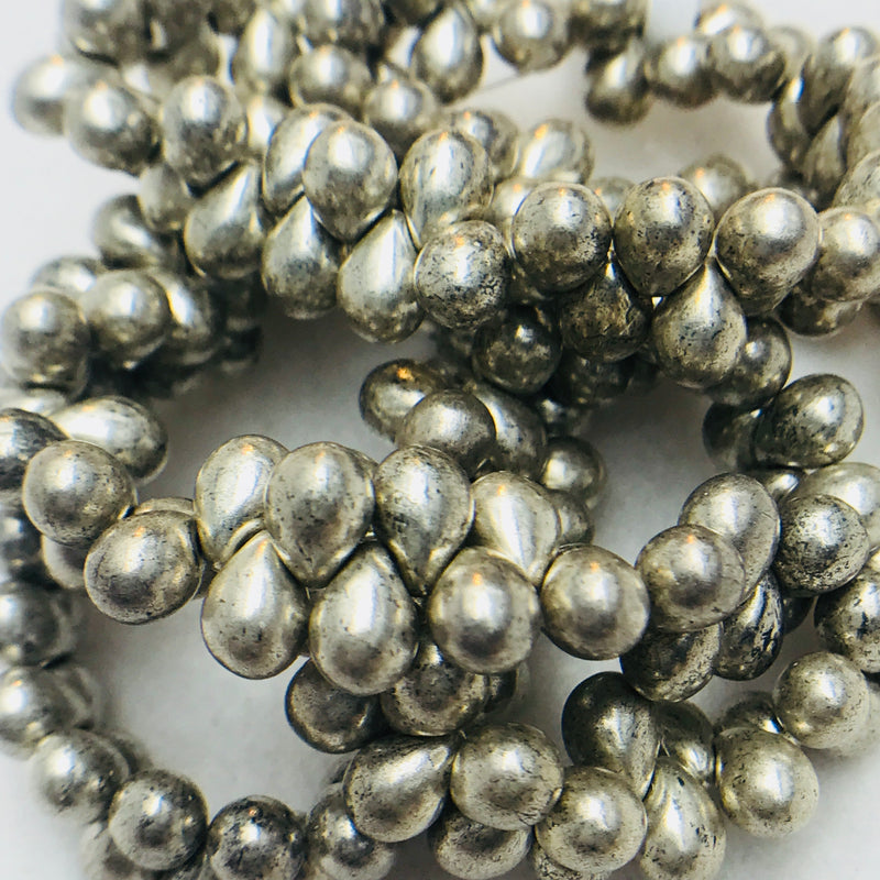 Drop Czech Glass Beads, 5x7mm, Metallic Silver