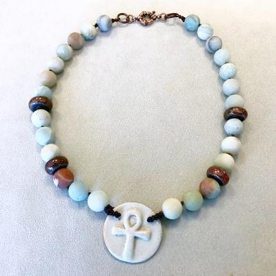 Amazonite & Raku Ankh Necklace