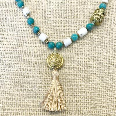 Long Amazonite Conch Shell and Brass Bead Necklace