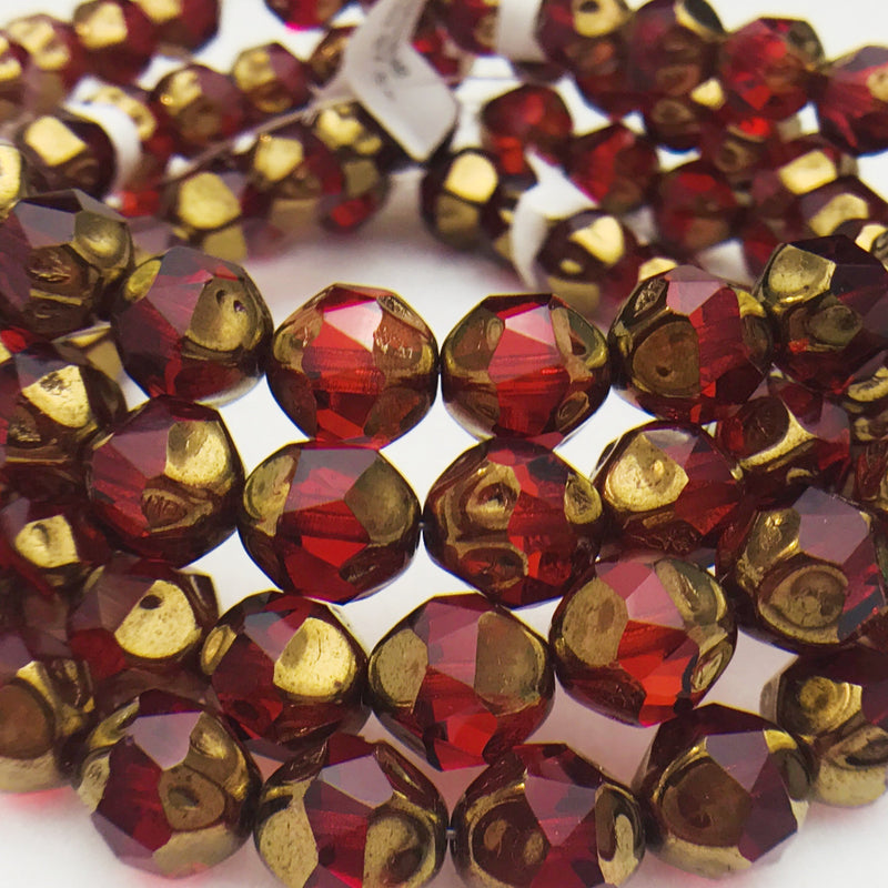 Baroque Czech Glass Beads, 10mm, Ruby Picasso