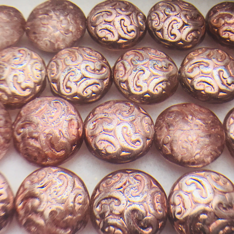 Coin Czech Beads, Crystal Copper 2X Ornamental  13mm