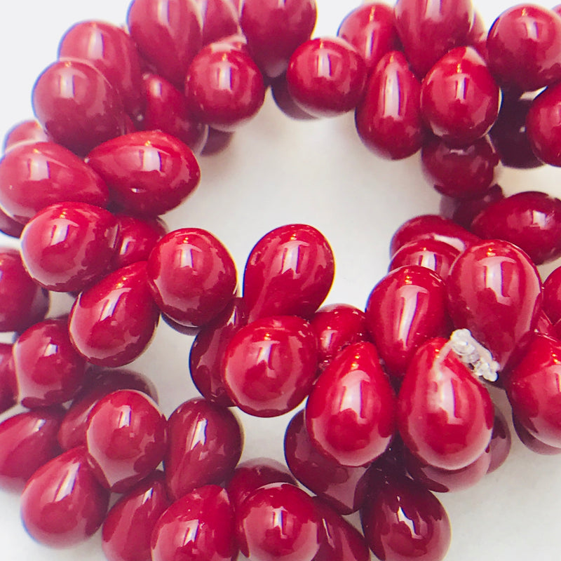 Drop Czech Glass Beads, 5x7mm, Dark Red