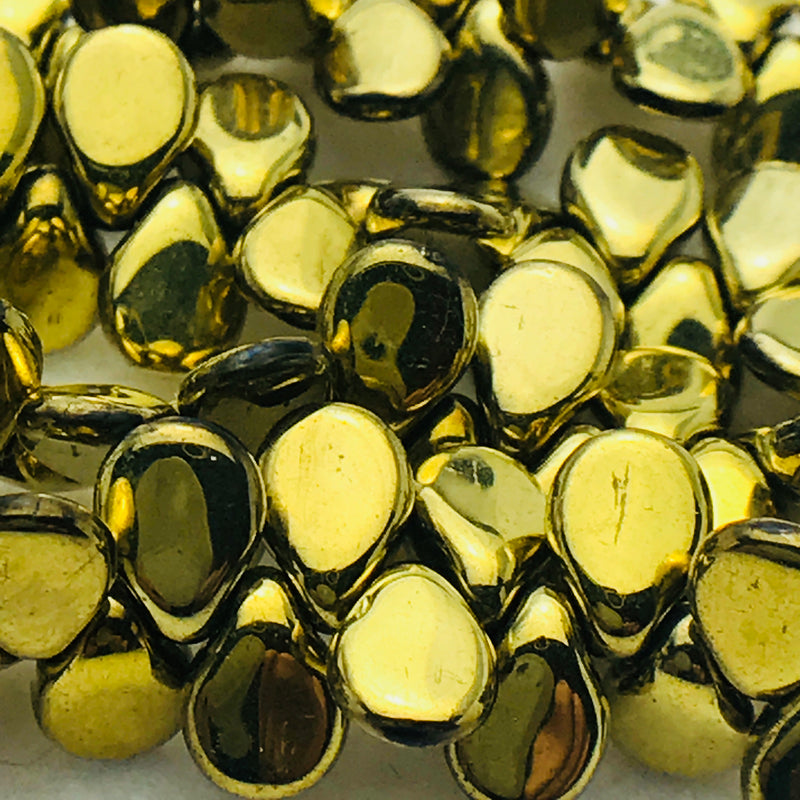 Gold Pip Czech Glass Bead 7mm