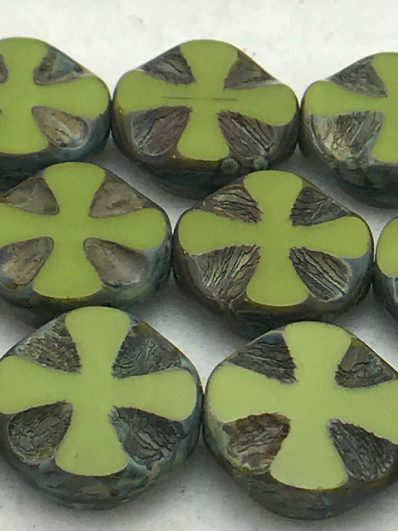 Cross Coin Table Cut Beads, Moss Green