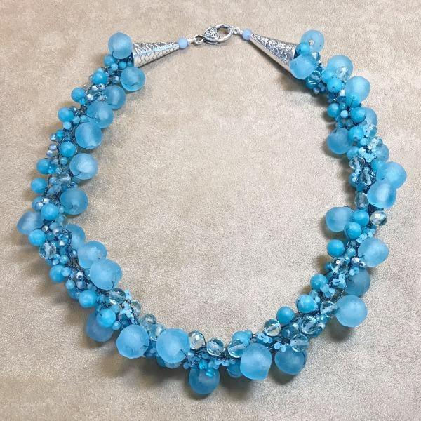 Crocheted Blue Gemstone Necklace