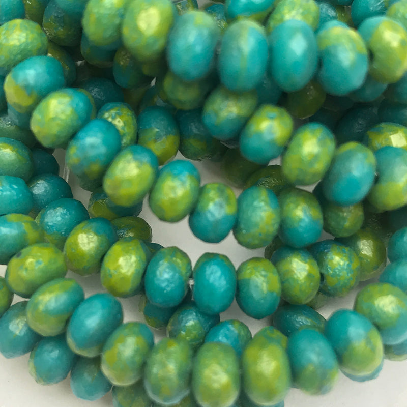 Rondelle Czech Glass Beads Blue/Green/Chartreuse w/ Etched Finish 3x5mm