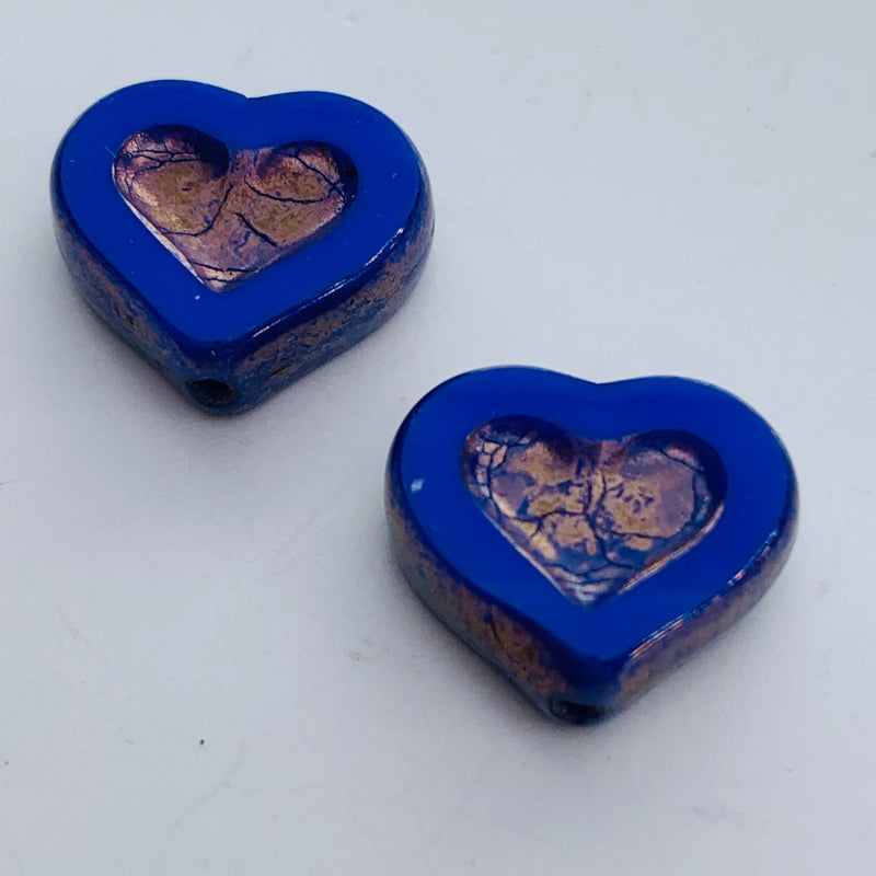 Heart Shaped Czech Glass Beads, Blue 12mm