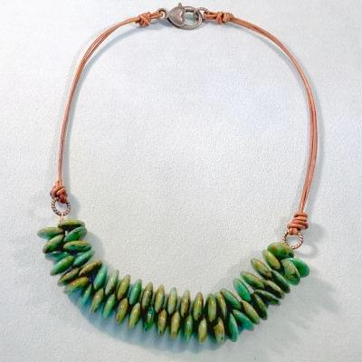 Turquoise Czech Glass and Leather Necklace