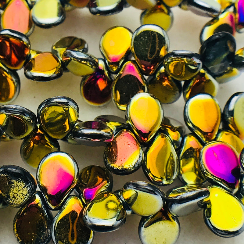 Metallic Marea Pip Czech Glass Bead 7mm