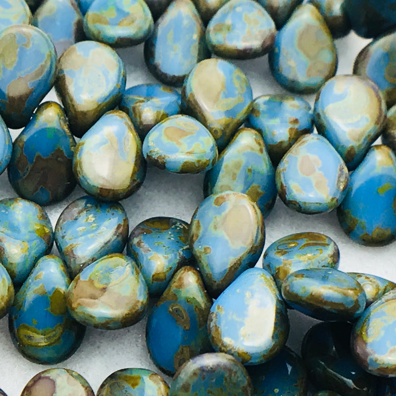 Opaque Blue Travertine Pip Czech Glass Bead 7mm