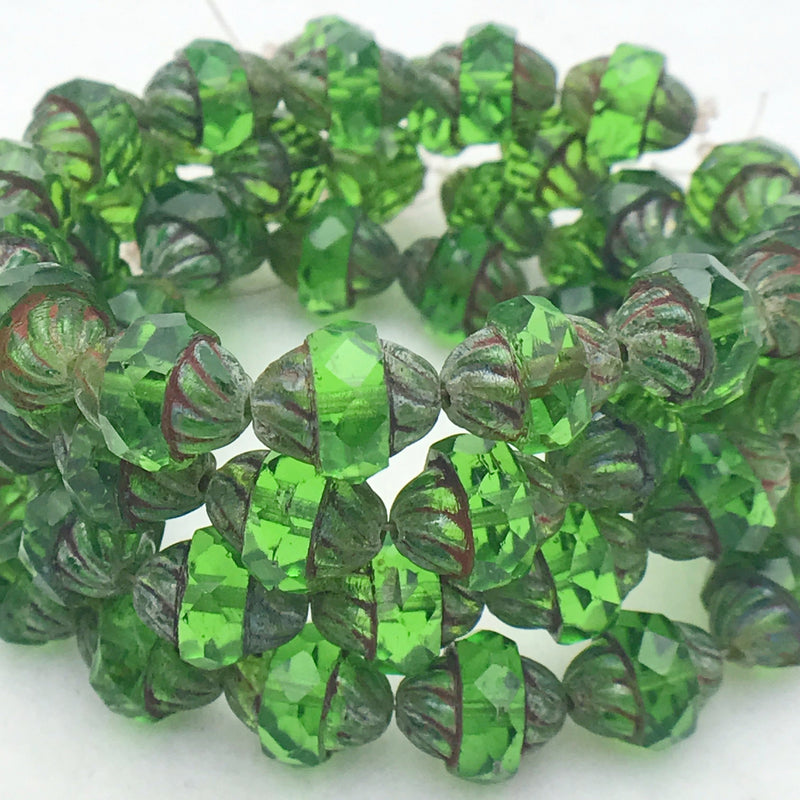 Turbine Czech Glass Bead Kelly Green with Picasso,11x10mm