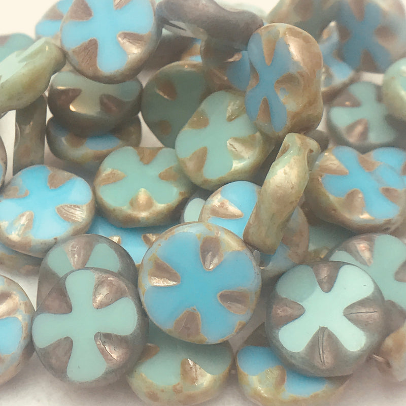 Medieval Cross Coin Table Cut Beads, Green Mix