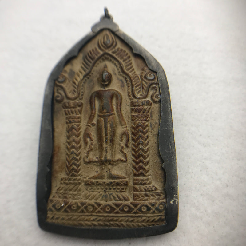 Bronze Buddha Amulet, Standing Pose in Temple