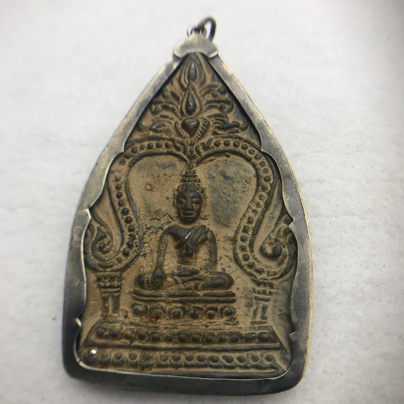 Bronze Buddha Amulet, Sitting Pose in Temple