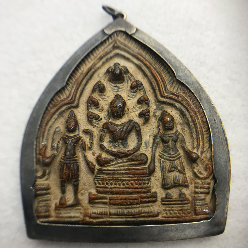 Bronze Buddha Amulet, Sitting with Attendants