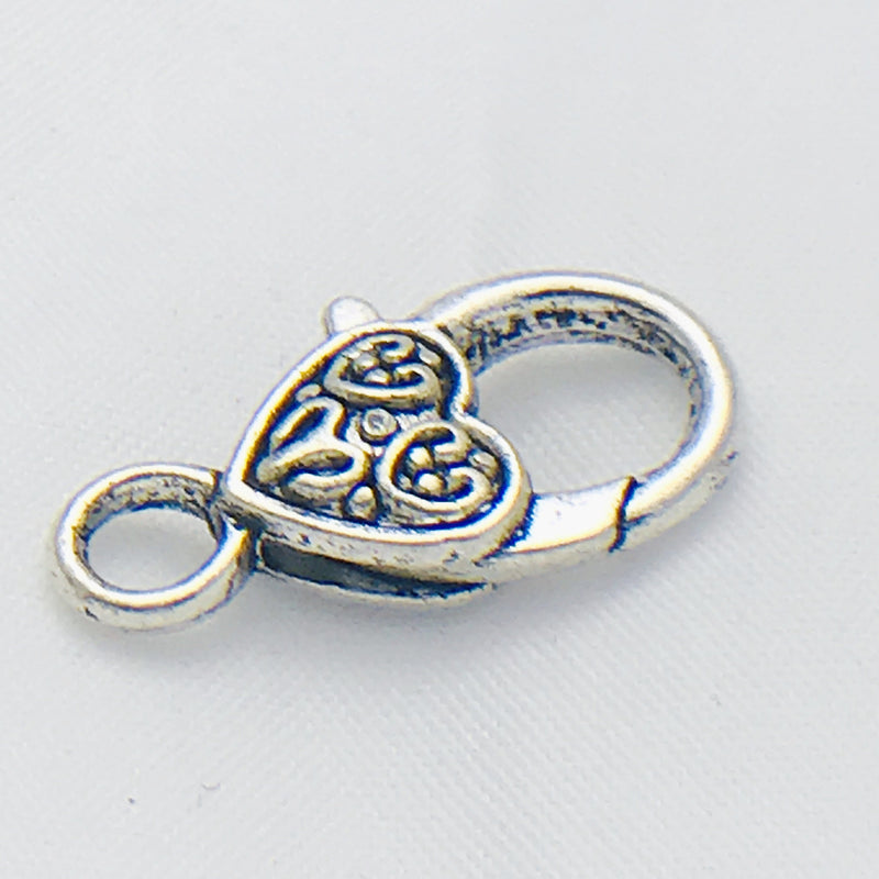 Silver Celtic Heart Lobster Clasp