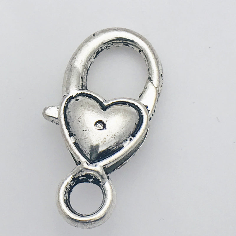 Silver Heart Lobster Clasp