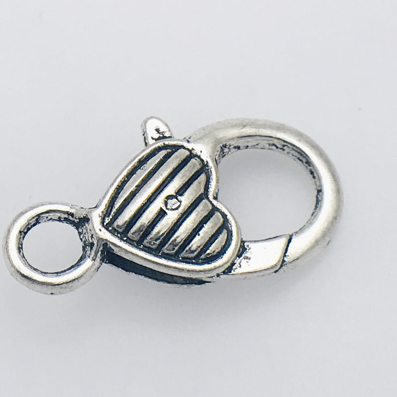 Silver Striped Heart Lobster Clasp