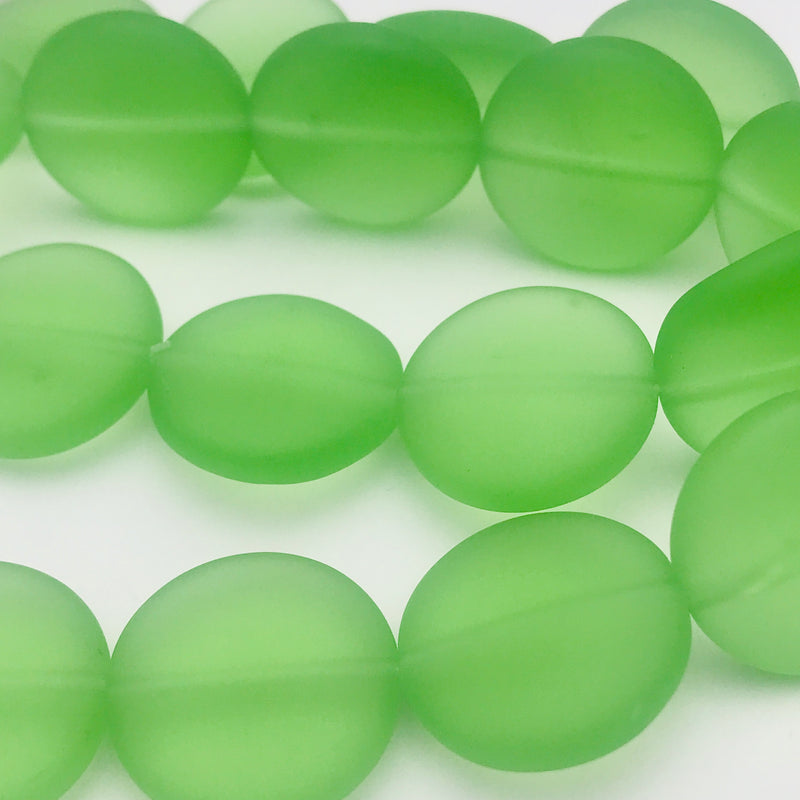 Tumbled Glass Coin Beads Green 20mm