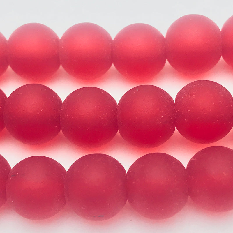 Tumbled Glass Round Beads Red 8mm