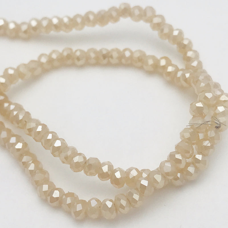 Faceted Rondelle Beads 3x4mm Champagne