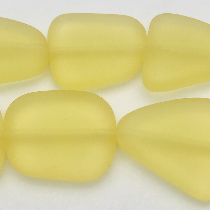Tumbled Glass Nuggets Yellow 20mm