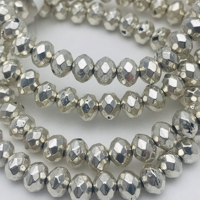 Silver Plated Faceted Rondelle Beads 4x6mm