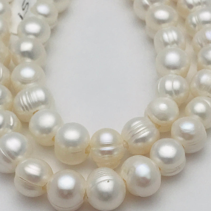 Large Hole White Round Cultured Pearls, 8mm