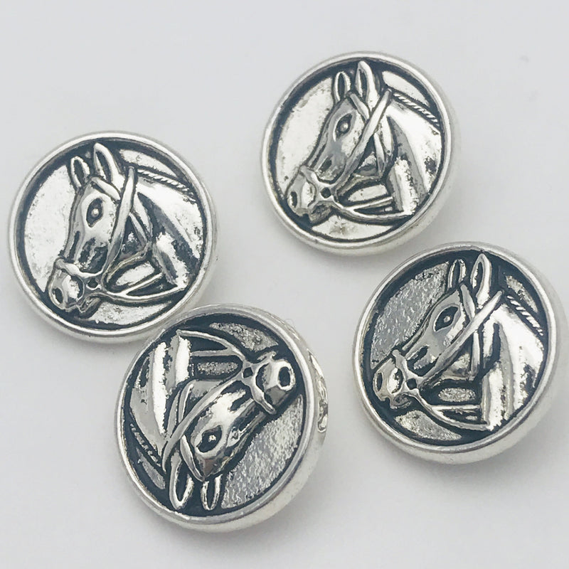 Silver Horse Head Button 15 mm