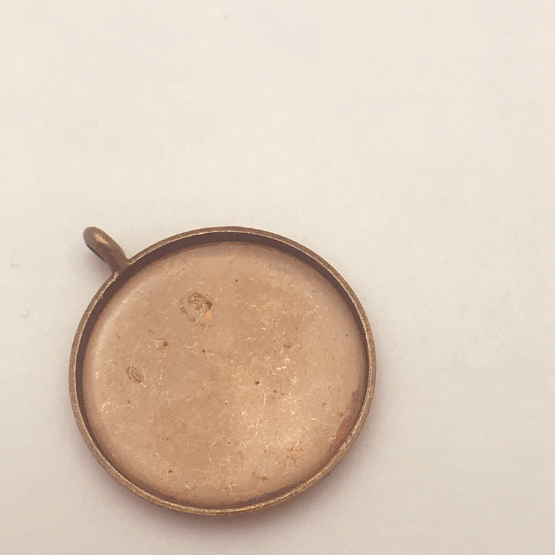 Circle Pendant Bezel Frame Antique Copper 18mm